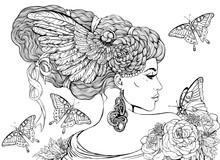 Portrait Of A Girl With Wings In Hairs And Butterflies