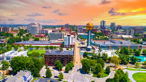 Knoxville, Tennessee, TN Downtown Drone Skyline Aerial