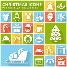 Christmas And New Year Flat Icons. Vector Set.