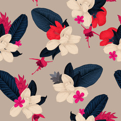 Seamless floral pattern with tropical flowers on light background. Template d...