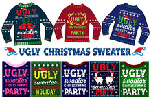 Ugly Christmas Sweater Set And...