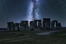 Stonehengeat Night With Milky Way Spreading Above, United Kingdom