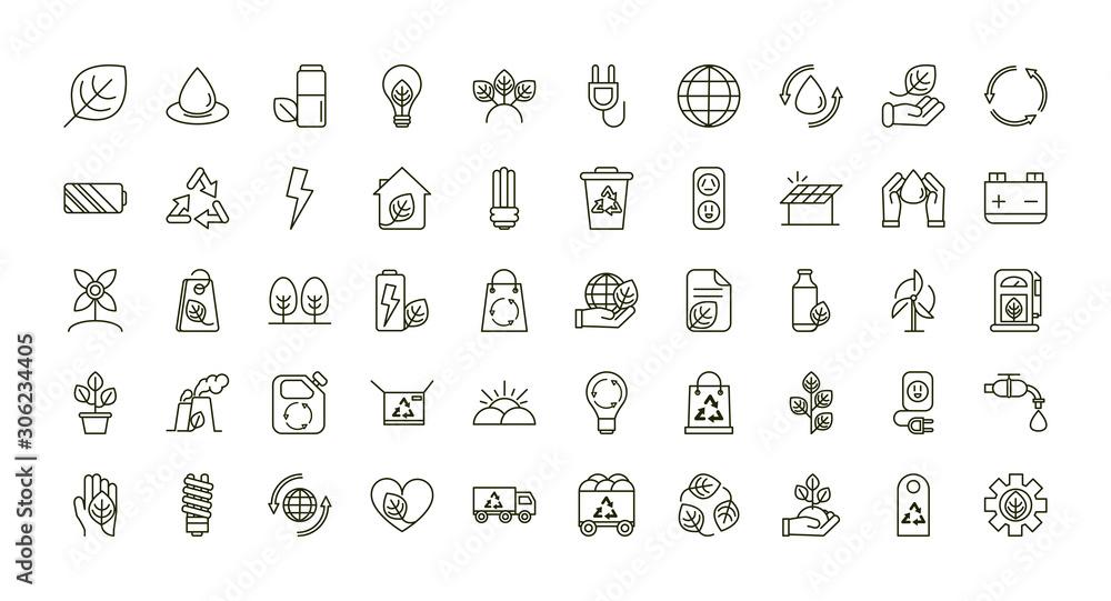 Fototapeta environment ecology icons collection line