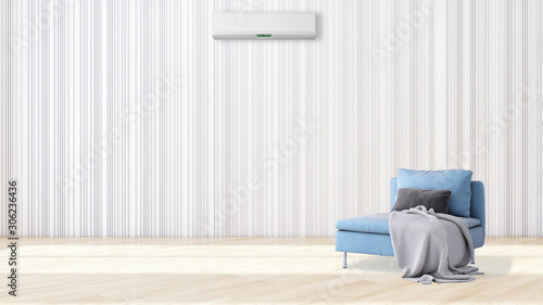 Fototapety, obrazy: large luxury modern bright interiors with air conditioning illustration 3D rendering