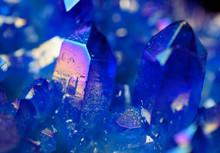 Close-up Of Prismatic Cobalt Blue Geode Crystals
