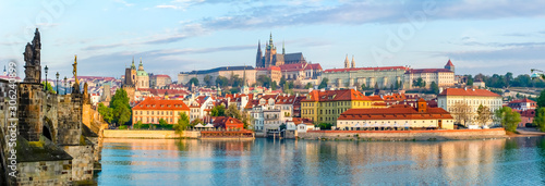 Obraz Prague panorama with Charles Bridge and Prague Castle at background, Czech Republic - fototapety do salonu