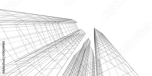 Architecture building 3d. Concept sketch. White backdrop Fototapet