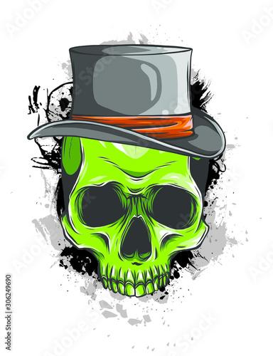 Vector skull pimp with hat illustration on white background Fototapeta