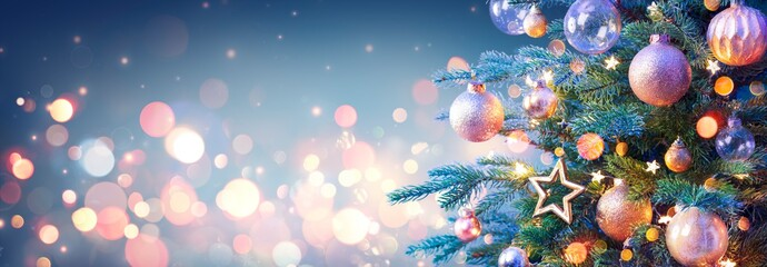 Christmas Tree With Golden Baubles And Shiny Lights In Blue Background
