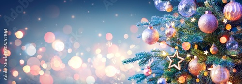 Christmas Tree With Golden Baubles And Shiny Lights In Blue Background - 306252863