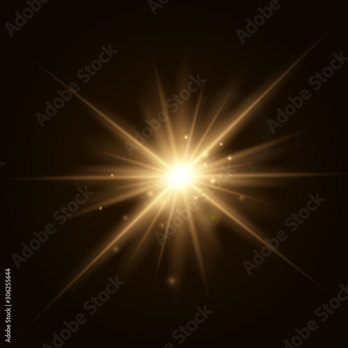Obraz Star explosion vector illustration, glowing sun. Sunshine isolated on transparent background. - fototapety do salonu
