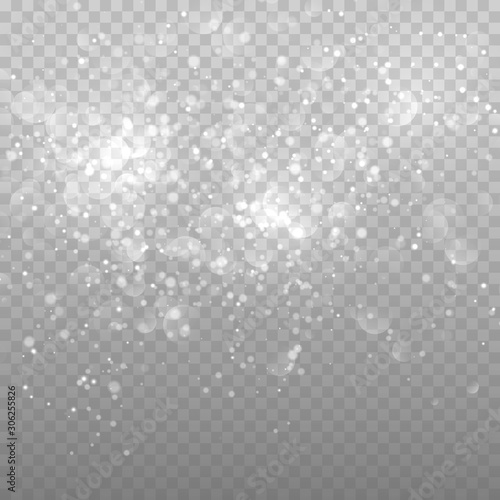 Obraz Bokeh lights abstract vector background. Magic blurred particles. Overlay effect background - fototapety do salonu