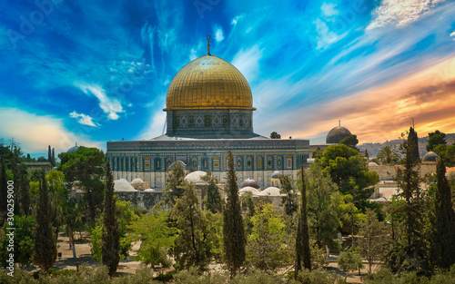 Al-Aqsa (Al-Qibli) Mosque in Jerusalem under an amazing Sky