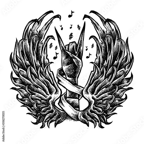 Photo Wings Metal hand music tattoo design