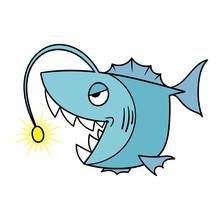 Cartoon Angler Fish Monster Il...