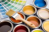 Fototapeta Zwierzęta - Colorful paint cans with paintbrush