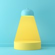 Abstract mock up scene minimal concept blue color with yellow geometry shape podium background for product presentation. 3d rendering