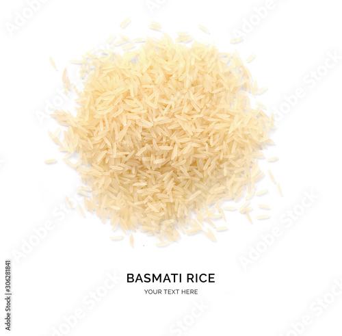 Fototapeta Creative layout made of basmati rice on white background. Flat lay. Food concept. Macro concept. obraz na płótnie