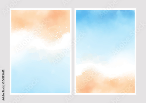 beautiful summer beach and blue ocean top view background for wedding invitation card 5x7 collection