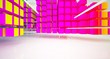 canvas print picture - Abstract white and colored gradient  interior multilevel public space from array cubes with window. 3D illustration and rendering.