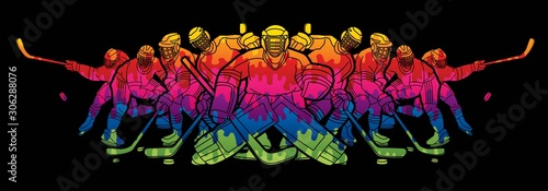 Photo  Ice Hockey players action cartoon sport graphic vector.
