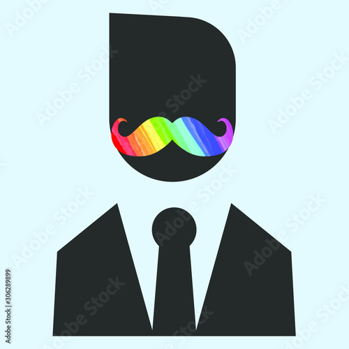 Obraz male silhouette with moustache painted with the colors of an LGBT community rainbow - fototapety do salonu