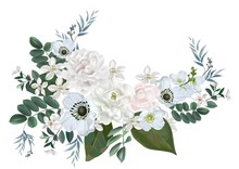 Jasmine And White Flower Bouquet Isolated On White Background