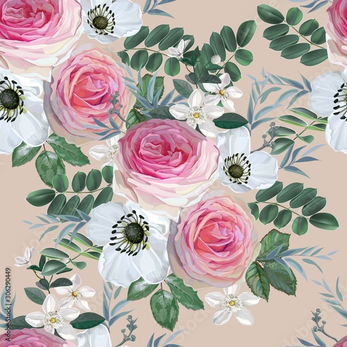 Cuadros en Lienzo Flower bouquet with pink rose and white flowers with leaves vector illustration