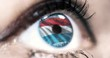 Woman blue eye in close up with the flag of Luxembourg in iris with wind motion. video concept
