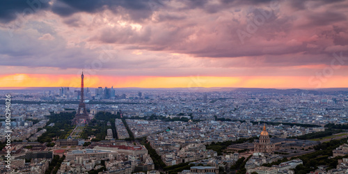 Panorama of the Eiffel Tower at sunset
