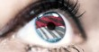 Woman blue eye in close up with the flag of monaco in iris with wind motion. video concept