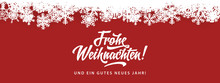 Frohe Weihnachten - Merry Christmas In German Language Red Flat Background Template With Snowflakes, And Calligraphy