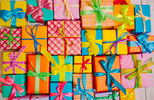 Bright Colored Boxes With Gifts On A White Background For Christmas, Birthday, Thanksgiving, Valentine's Day
