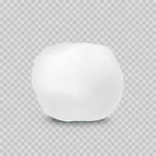 Snowball Isolated On Transparent Background. Vector Snow Or Cotton Ball. White Pompon Element Template.