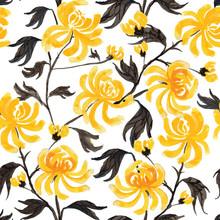 Vector Floral Seamless Pattern  In Japanese Folk Painting Style Sumi-e. Ink Wash Painted Fantasy Yellow Chrysanthemum Flowers And Leaves Isolated On White Background. Batik, Wallpaper