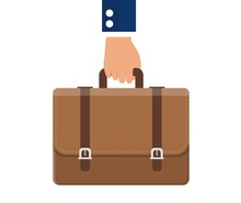 Business Concept. Businessman Hand Holding Briefcase With Corporate Company Documents. Vector Illustration In Flat Style