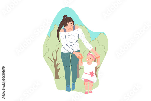 Parental care and support, childcare, babysitting concept Canvas Print