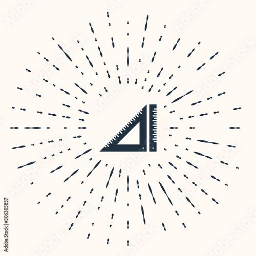 Obraz Grey Triangular ruler icon isolated on beige background. Straightedge symbol. Geometric symbol. Abstract circle random dots. Vector Illustration - fototapety do salonu