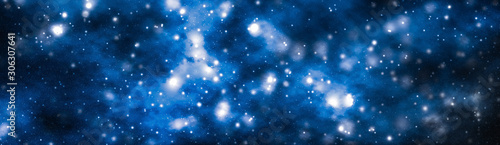 Obraz Stars, planet and galaxy in cosmos universe, space and time travel science background - fototapety do salonu
