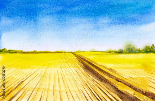 Poster Jaune Plowed Russian field with forest in the background and grass in the foreground. Watercolor illustration of a rural location