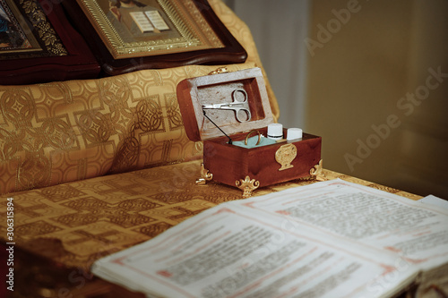 Religious items prepared for a ceremony inside a Christian Orthodox church