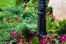 Metal Lamp Post In The Flowerbed