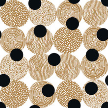 Decorative Abstract Polka Dots In The Style Of The 60s.. Gold Polka Dot Vector Seamless Pattern. Can Be Used In Textile Industry, Paper, Background, Scrapbooking.