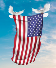 United States Flag Carried By White Pigeon With Sky Background