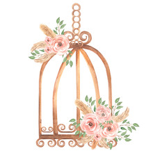 Hand Painted Watercolor Rusty Vintage Bird Cage With Dirty Pink Roses Flowers Bouquet And Green Leaves Branch. Provence Style Illustration. Weeding Card Invitation.