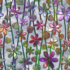 Fototapeta Na szklane drzwi i okna Seamless texture with flowers pattern, stained glass effect, 3d illustration