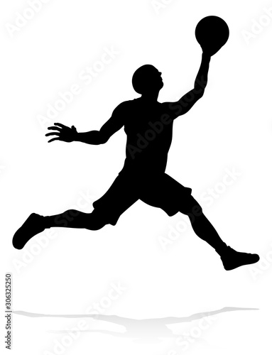 A silhouette basketball player sports illustration Canvas Print