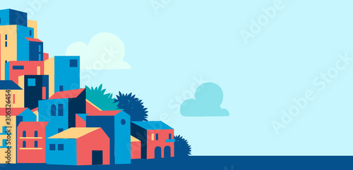 City and blue sky cartoon background - Vector