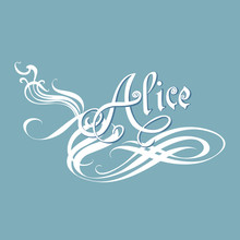 Alice Name In The Style Calligraphy, Girls Woman Forename On Blue Background. Decorative Lettering