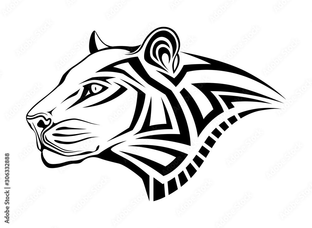 Fototapeta Leopard in the form of a tribal tattoo